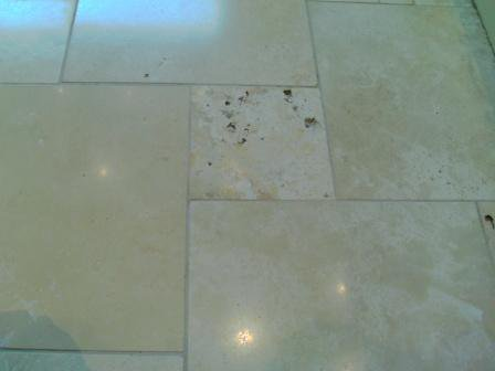 Travertine Floor After 3 Stage Burnish