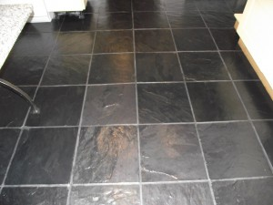 Slate Tiled floor in Bedfordshire after cleaning and sealing