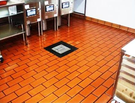 Cleaning Quarry Tiles at Hockliffe Takeaway After