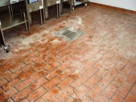 Cleaning Quarry Tiles at Hockliffe Takeaway Before
