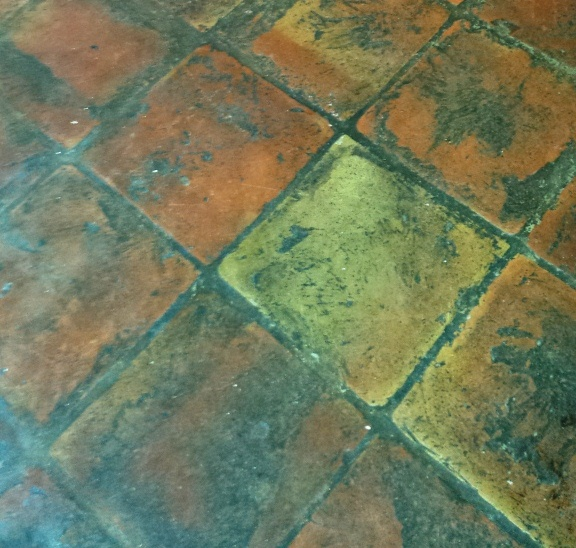 Terracotta Tiles in Wing Before Cleaning