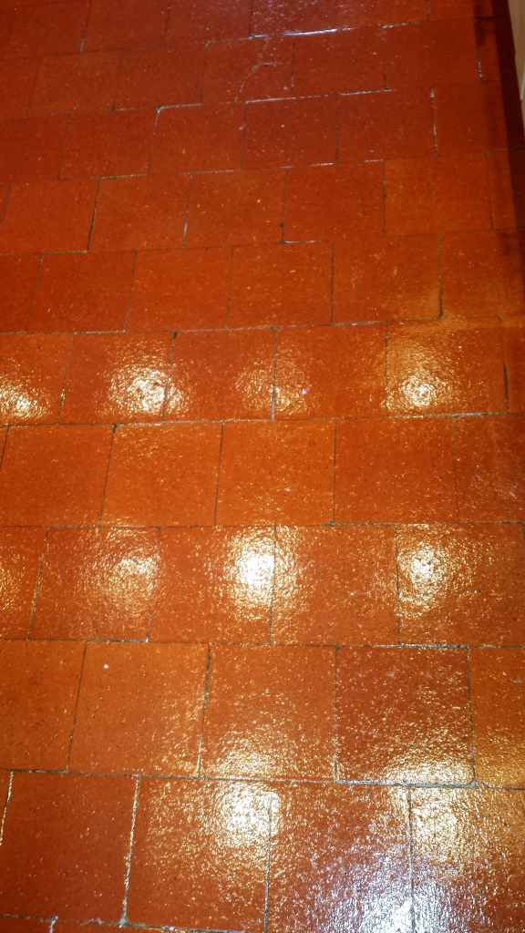 Quarry Tiles in Hitchen After Cleaning and Sealing