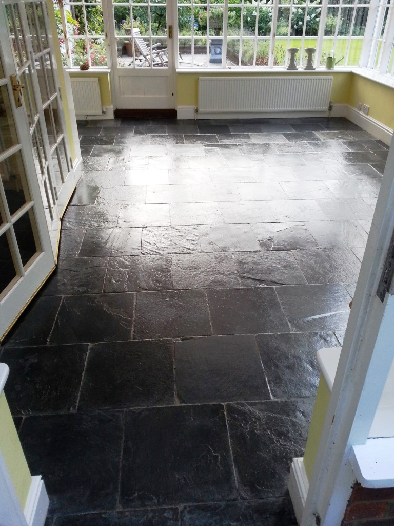 Slate Tiled Floor Bedford After Cleaning and sealing