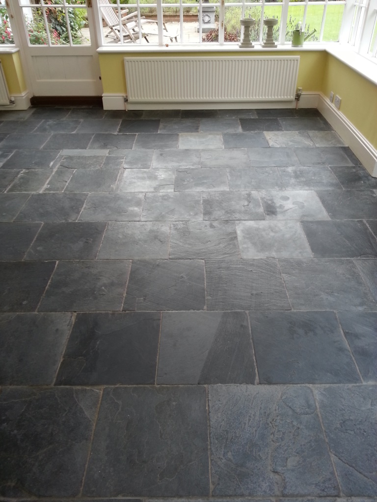 Stone cleaning and polishing tips for slate floors information slate tiled floor bedford after cleaning and before sealing doublecrazyfo Images