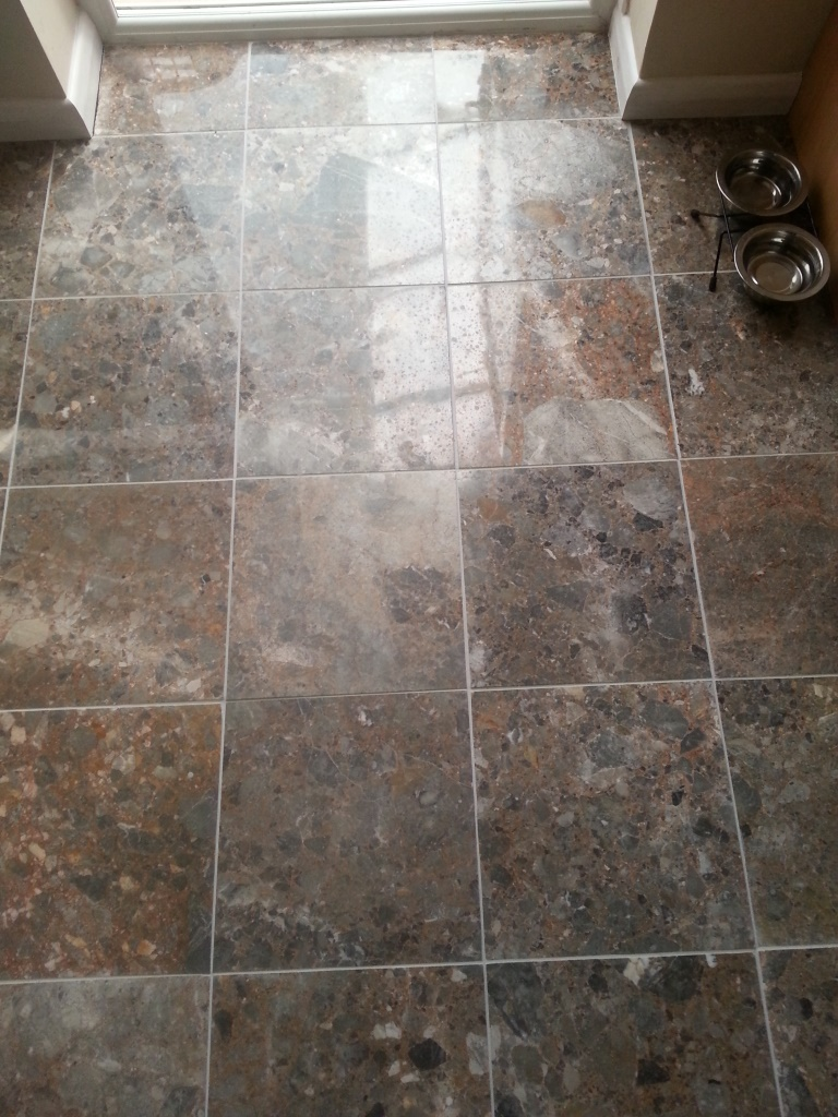 Old Terrazzo Floor in Oakham Before Cleaning