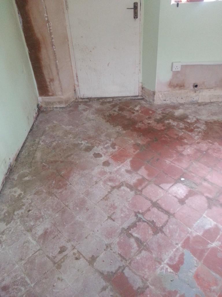 Quarry Tiles Before Restoration in Langford