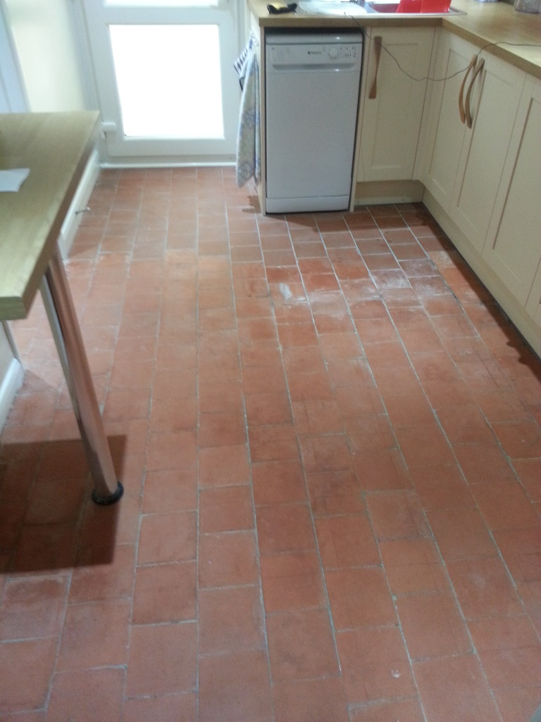 Quarry tiles in Cople Before Cleaning