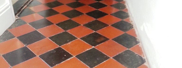 Black and Red Quarry Tiled Ffloor Restored in Riseley