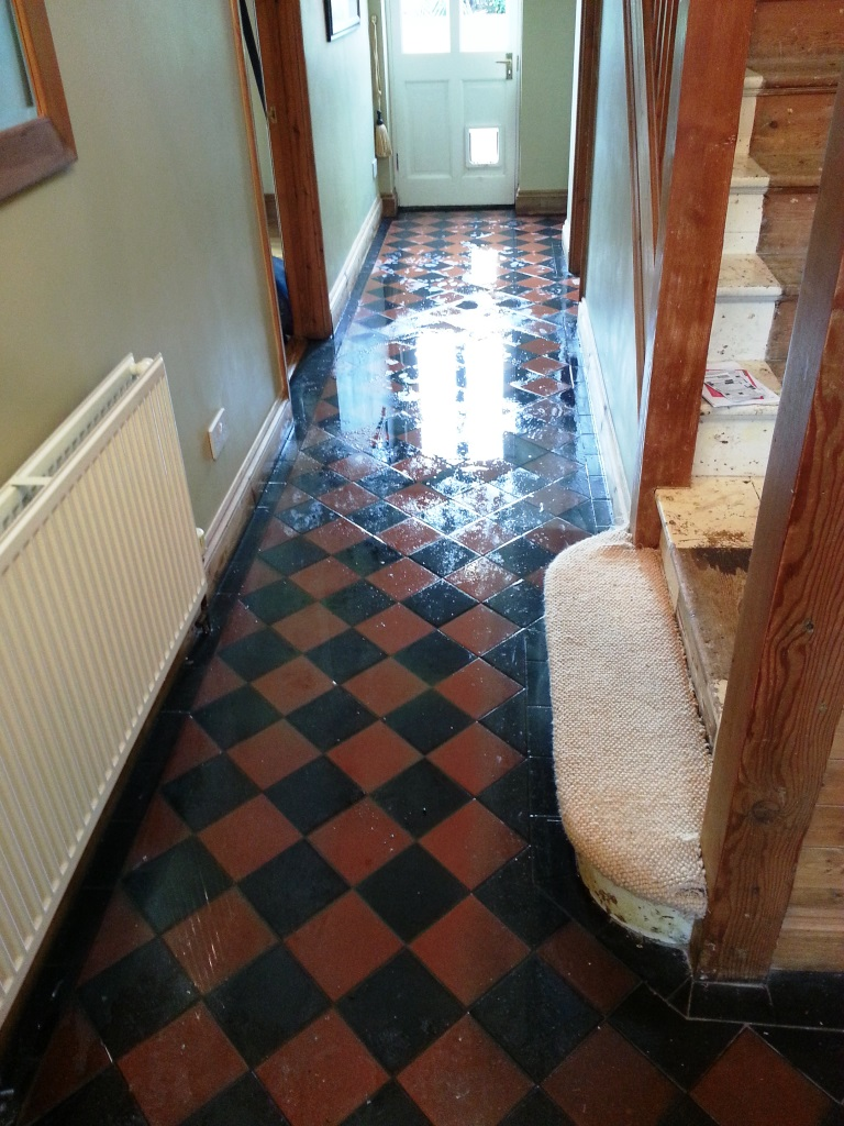 Victorian tiles Biggleswade during cleaning