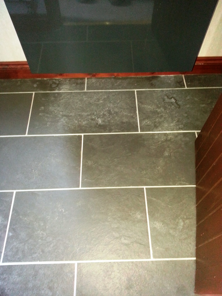 Limescale Treated on Slate Bathroom Tiles Ravenden Before