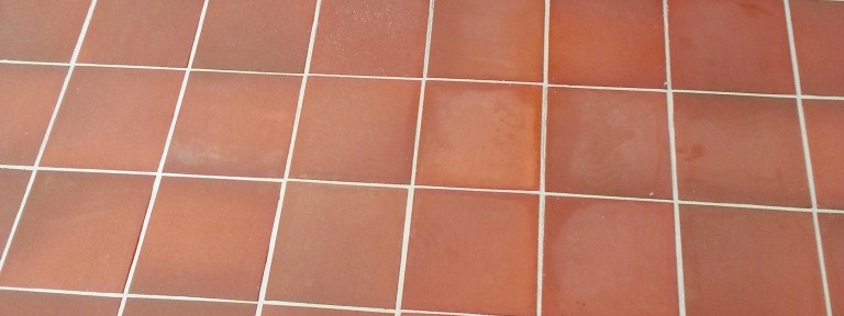 Newly Laid Quarry Tiled Terrace Treated for Grout Haze in Dunstable
