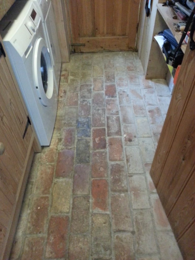 20 Year old hand made brick floor Before Cleaning in Wrestlingworth