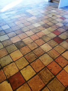 Victorian Brick Floor Tiles-Before Restoration in Colmworth