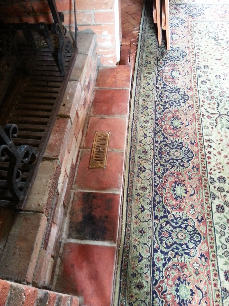 Quarry Tiled Fireplace after cleaning and sealing Bedford
