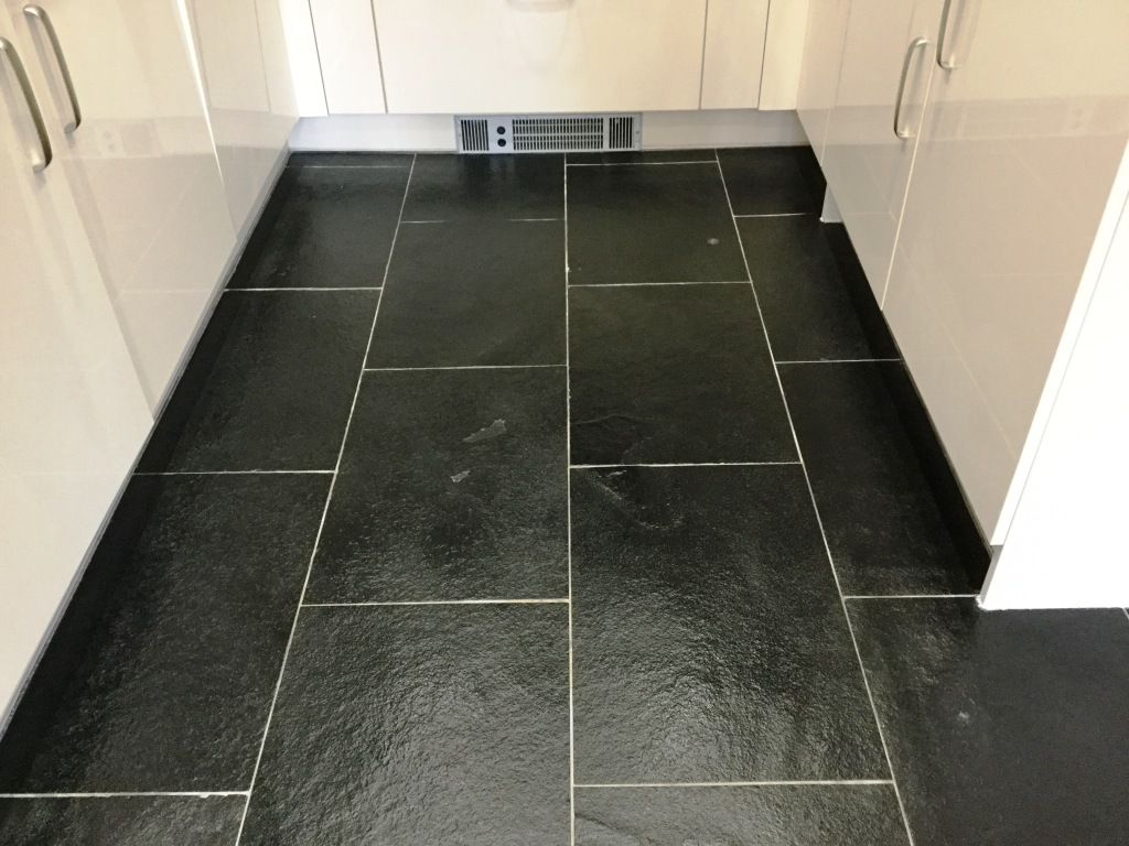 Black limestone floor wixams after sealing