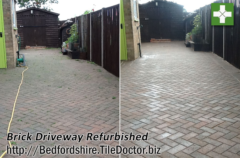 Brick driveway before and after refurbish in Pertenhall
