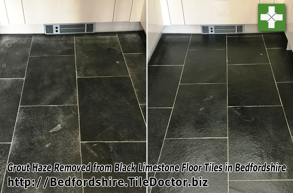 Limestone floor tiles before and after renovation in Bedfordshire