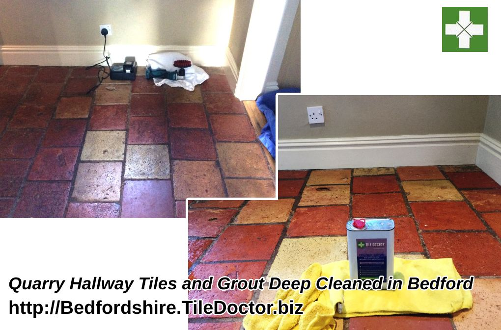 Quarry tiled kitchen floor before and after cleaning in Bedford