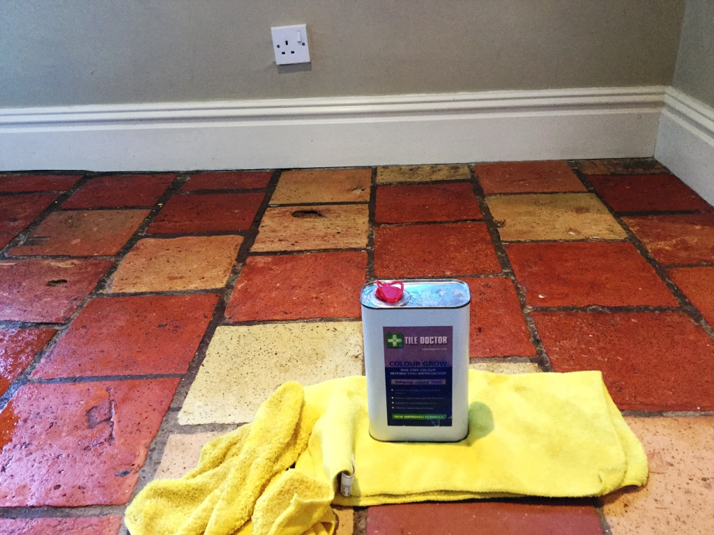 Quarry tiles after cleaning and sealing Bedford