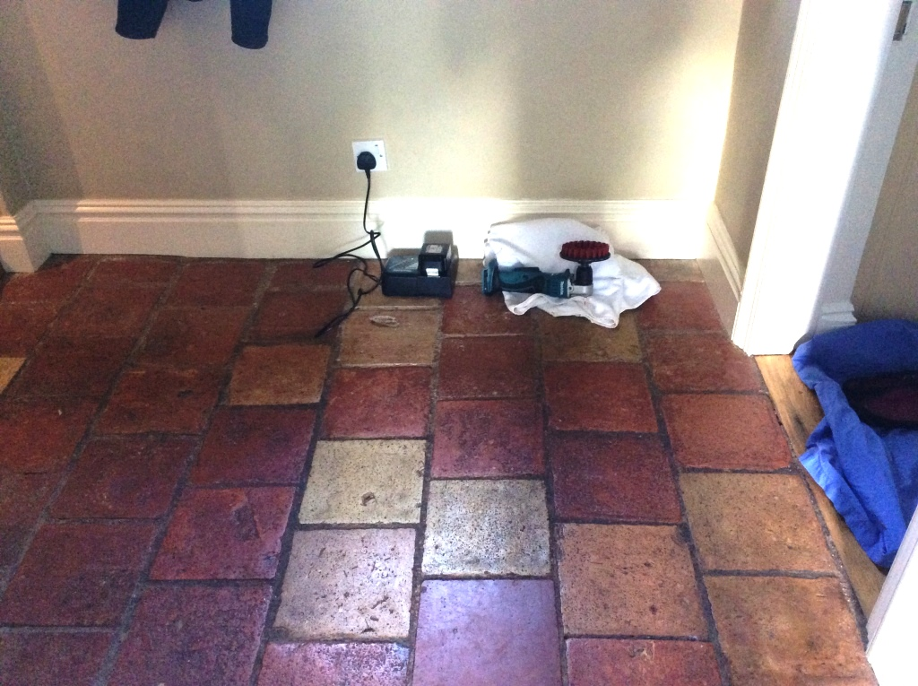 Quarry tiles before cleaning Bedford