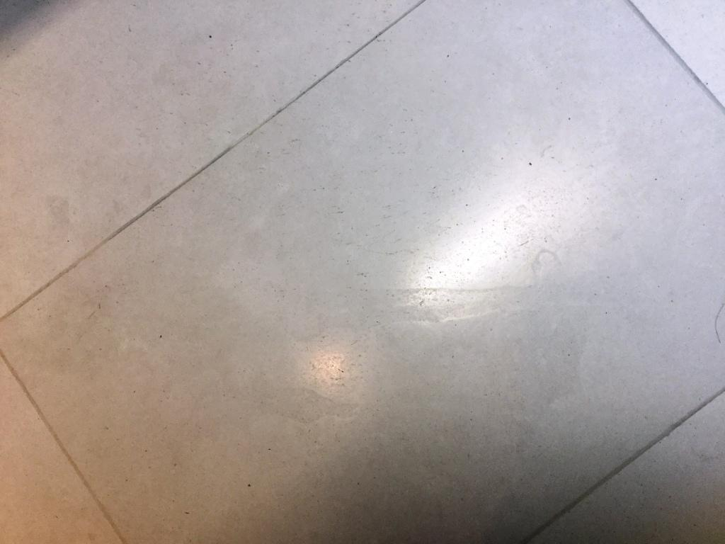 Polished Limestone Office Floor Before Refinishing in Maulden Closeup