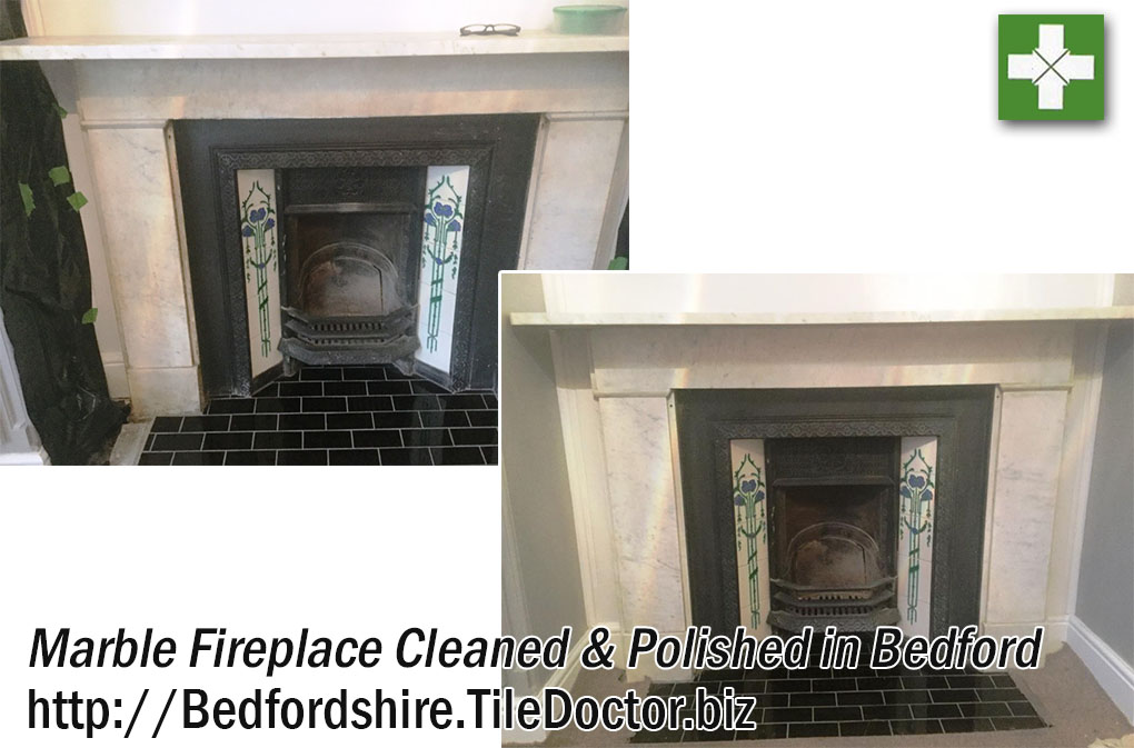 Stained Marble Fireplace Cleaned and Polished in Bedford