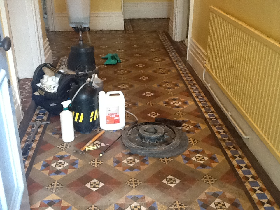 Victorian Tiled Floor During Cleaning Bedford