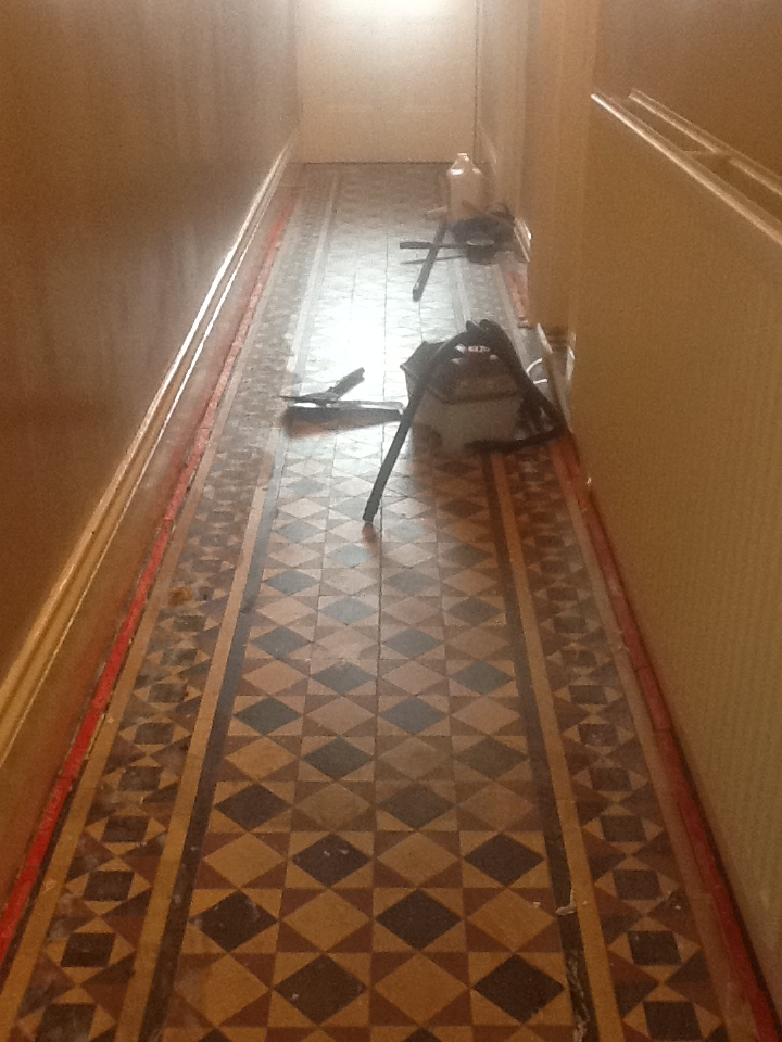 Victorian tiled floor Before Cleaning Bedford