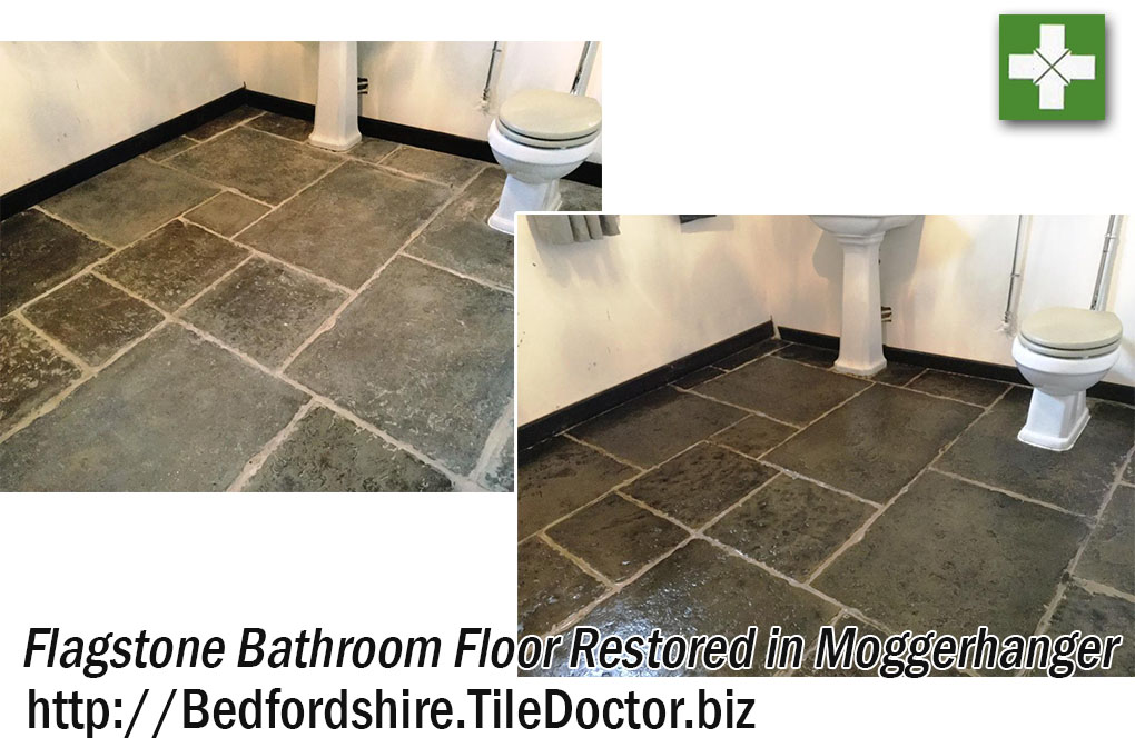 Flagstone Bathroom Floor Restored in Moggerhanger