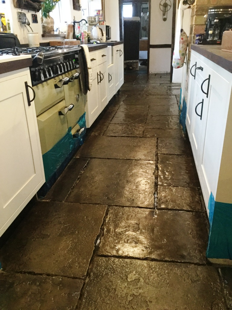 Flagstone Kitchen Floor Installation After Cleaning Moggerhanger