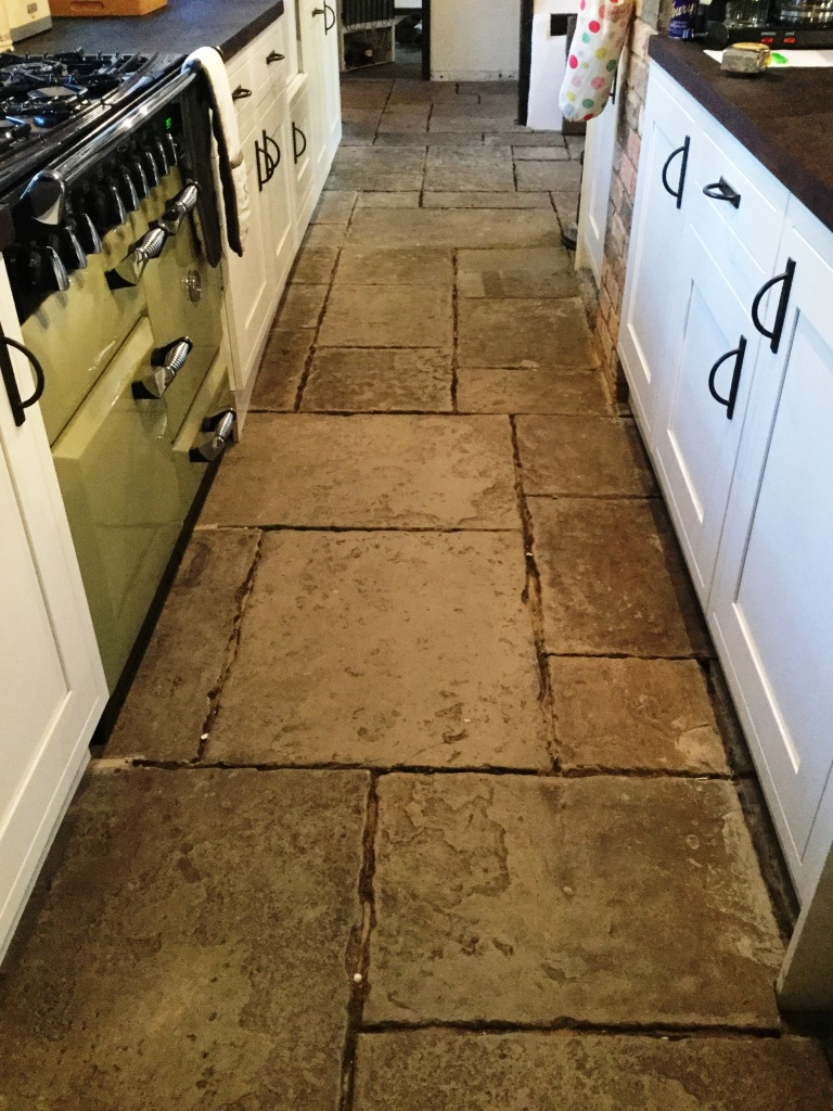 Flagstone Kitchen Floor Installation Before Cleaning Moggerhanger