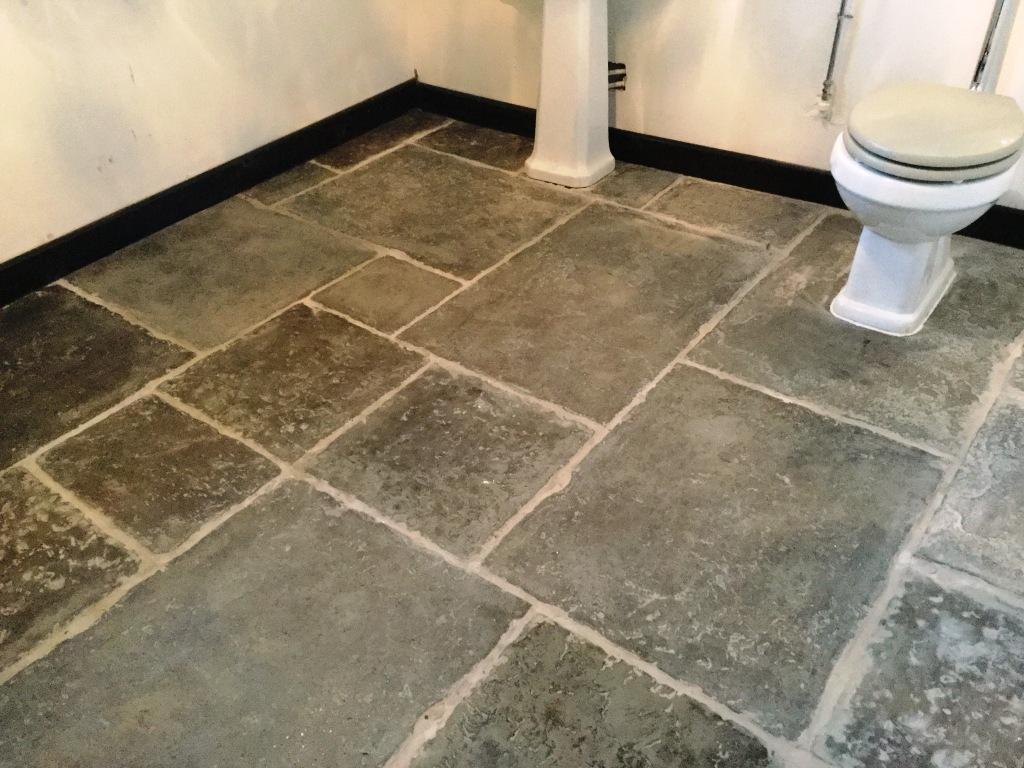 Flagstone WC Floor Installation Before Cleaning Moggerhanger