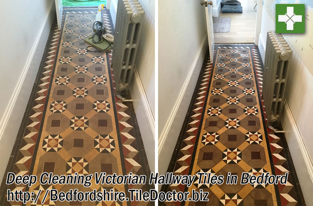 Victorian Tiled Hallway Before and After Restoration Bedford