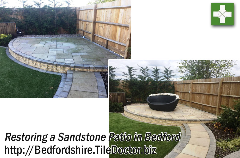 Sandstone Patio Before and After Restoration in Bedford
