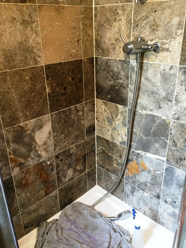 Marble Shower Cubicle After Cleaning in Sharnbrook
