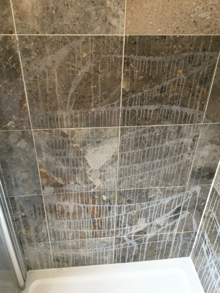Marble Shower Cubicle Before Cleaning in Sharnbrook