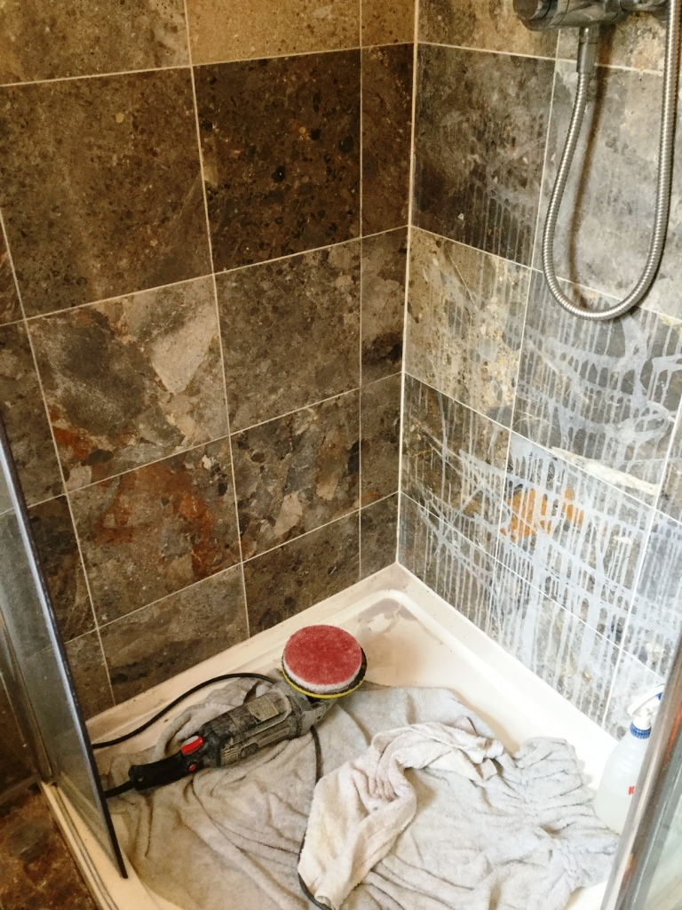 Marble Shower Cubicle During Cleaning in Sharnbrook