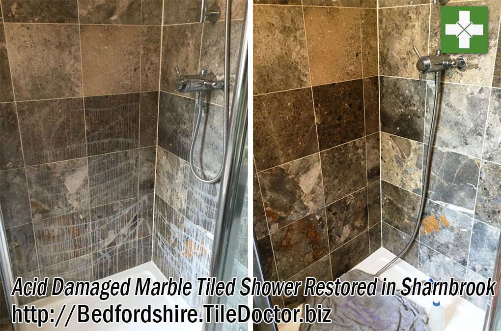Marble Tiled Shower Cubicle Before and After Polishing in Sharnbrook