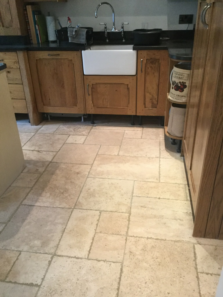 Tumbled Travertine Kitchen Floor After Cleaning Clophill Village
