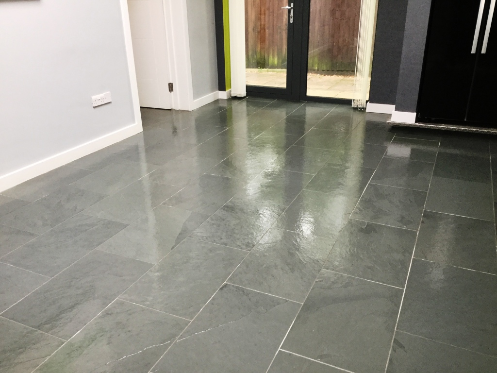 Grey Brazilian Slate Floor After Cleaning and Sealing in Studham