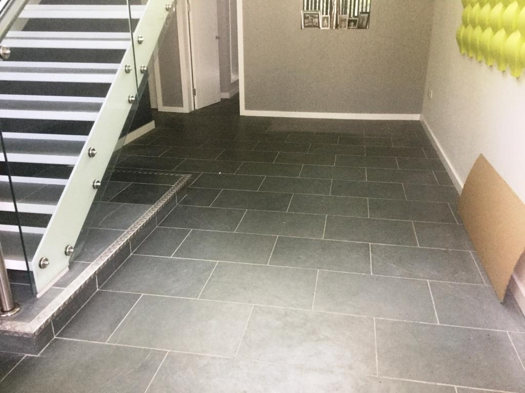 Grey Brazilian Slate Floor Before Cleaning in Studham