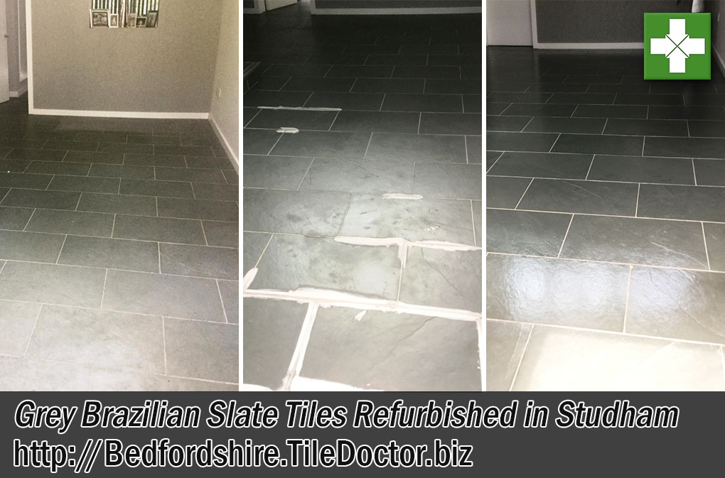 Grey Brazilian Slate Floor Before and After Cleaning and Sealing in Studham