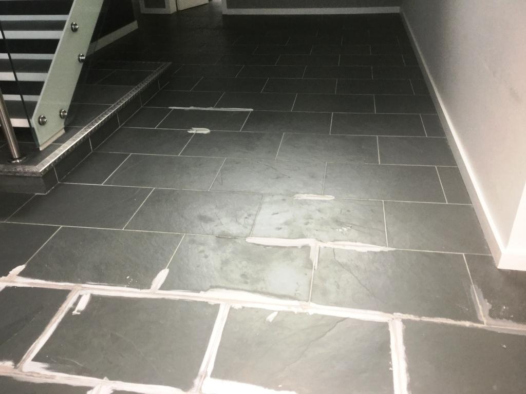 Grey Brazilian Slate Floor During Grouting in Studham