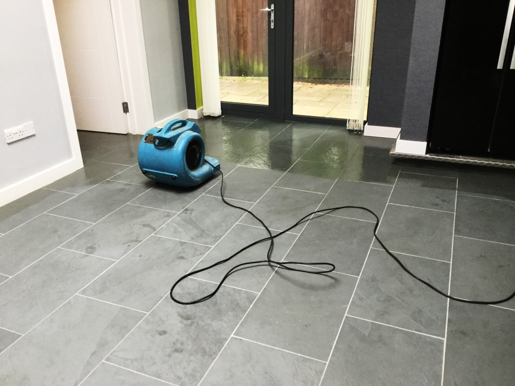 Grey Brazilian Slate Floor During Sealing in Studham