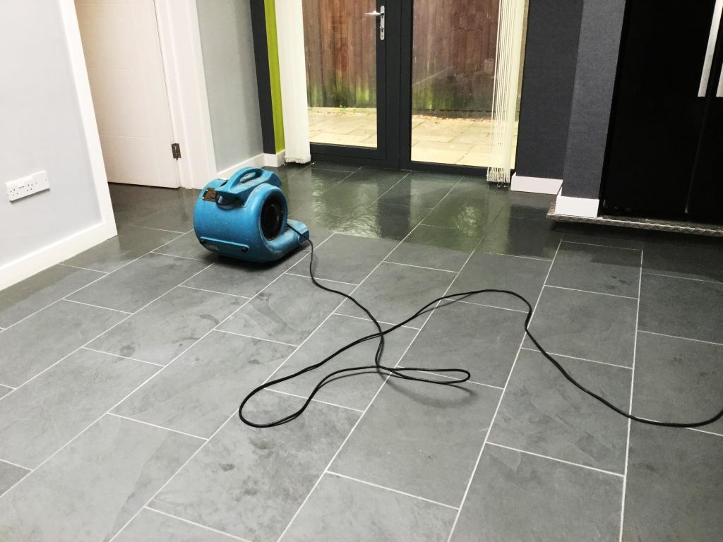 Grey Brazilian Slate Floor During Sealing in Studham
