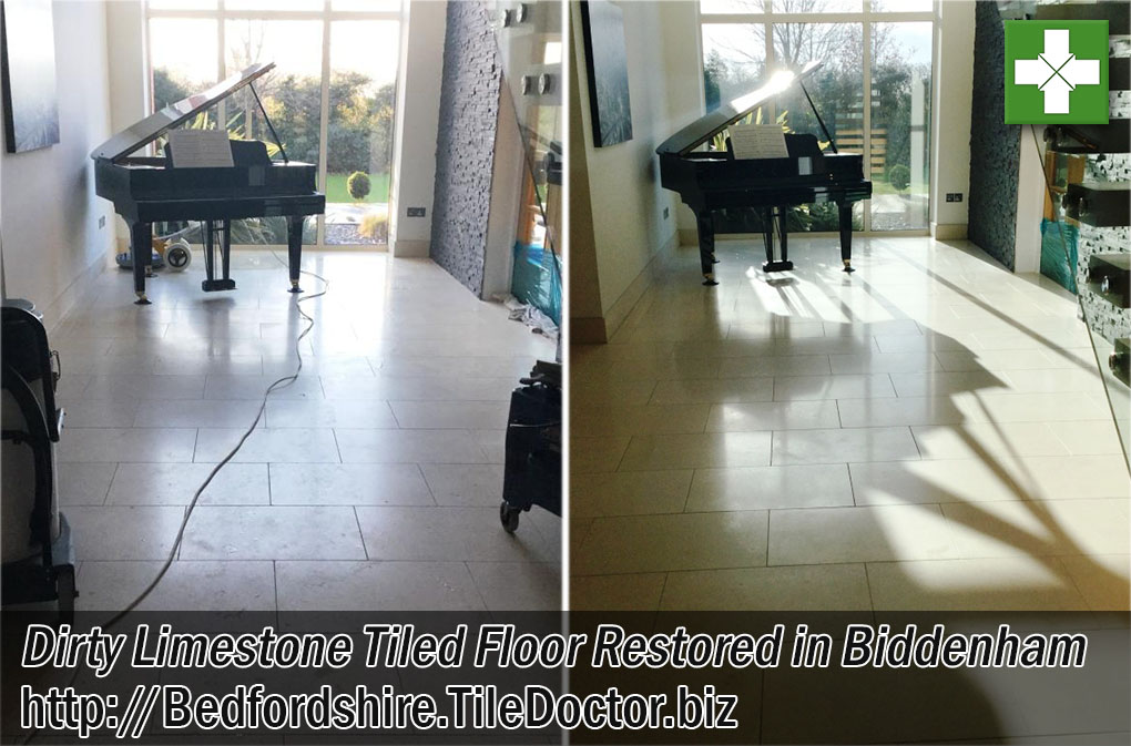 Large Limestone Floor Before and After Restoration in Biddenham