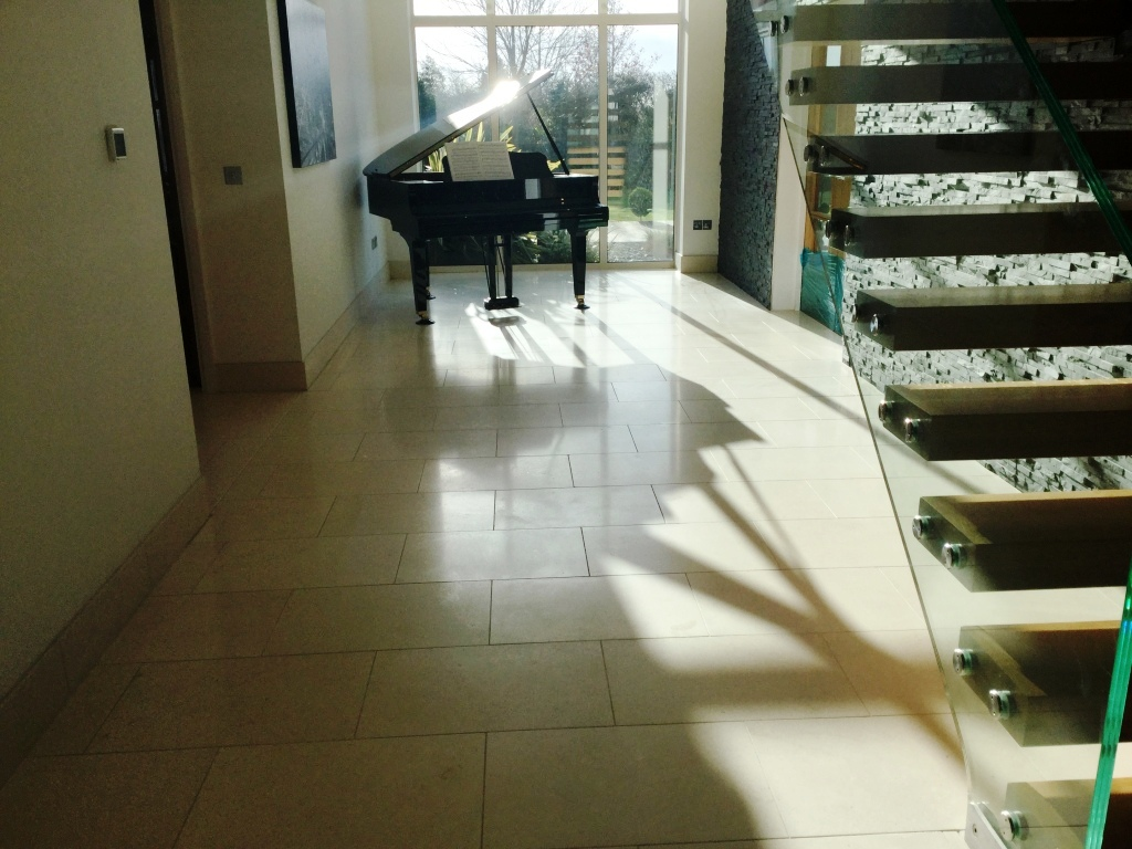 Limestone Tiled Hallway Floor After Cleaning Biddenham