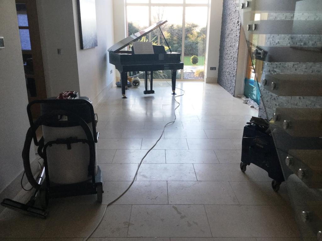 Limestone Tiled Hallway Floor Before Cleaning Biddenham