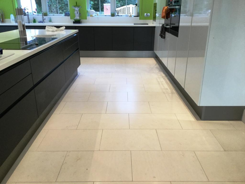 Limestone Tiled Kitchen Floor After Cleaning Biddenham