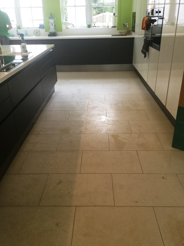 Limestone Tiled Kitchen Floor Before Cleaning Biddenham